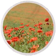 Many Poppies Round Beach Towel