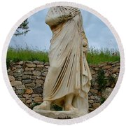 Many Sculptures Lost Their Heads In Ephesus-turkey Round Beach Towel