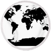 Map In Black And White Round Beach Towel