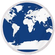 Map In Blue And White Round Beach Towel