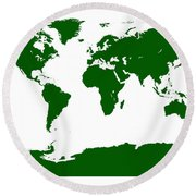 Map In Forest Green Round Beach Towel