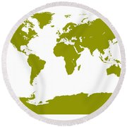 Map In Olive Green Round Beach Towel