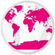 Map In Pink Round Beach Towel