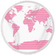 Map In Pink Stripes Round Beach Towel