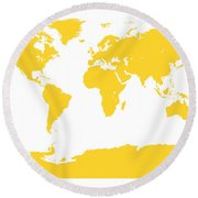 Map In Yellow Round Beach Towel