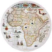 Map Of Africa, 1630 Round Beach Towel