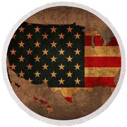 Map Of America United States Usa With Flag Art On Distressed Worn Canvas Round Beach Towel