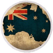 Map Of Australia With Flag Art On Distressed Worn Canvas Round Beach Towel