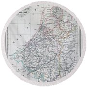Map Of Belgium And Holland Or The Netherlands Round Beach Towel
