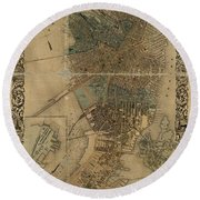 Map Of Boston 1852 Round Beach Towel