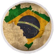 Map Of Brazil With Flag Art On Distressed Worn Canvas Round Beach Towel