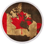 Map Of Canada With Flag Art On Distressed Worn Canvas Round Beach Towel