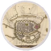 Map Of Copenhagen 1837 Round Beach Towel