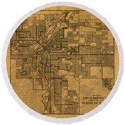 Map Of Denver Colorado City Street Railroad Schematic Cartography Circa 1903 On Worn Canvas Round Beach Towel
