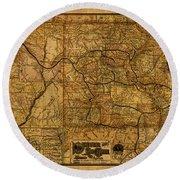 Map Of Denver Rio Grande Railroad System Including New Mexico Circa 1889 Round Beach Towel