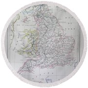 Map Of England Round Beach Towel