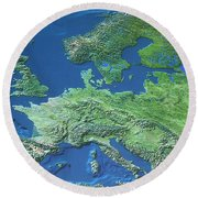 Map Of Europe Round Beach Towel