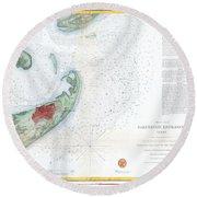 Map Of Galveston City And Harbor Texas Round Beach Towel