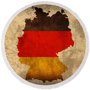 Map Of Germany With Flag Art On Distressed Worn Canvas Round Beach Towel by Design Turnpike