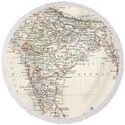 Map Of India Round Beach Towel
