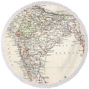Map Of India Round Beach Towel