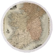 Map Of Ireland Round Beach Towel by C Montague