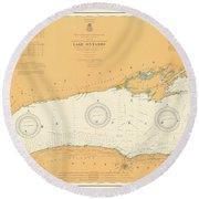 Map Of Lake Ontario 1904 Round Beach Towel