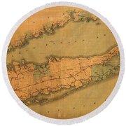 Map Of Long Island 1888 Round Beach Towel