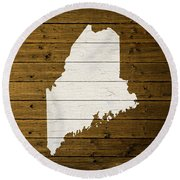 Map Of Maine State Outline White Distressed Paint On Reclaimed Wood Planks. Round Beach Towel