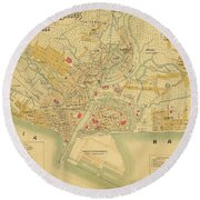 Map Of Manila 1899 Round Beach Towel