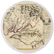 Map Of Maryland 1676 Round Beach Towel