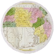 Map Of Massachusetts, From Historical Collections Of Massachusetts, By John Warren Barber, 1839 Round Beach Towel