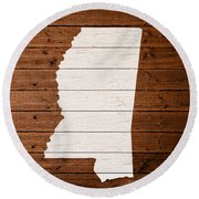 Map Of Mississippi State Outline White Distressed Paint On Reclaimed Wood Planks. Round Beach Towel