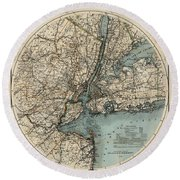 Map Of New York 1891 Round Beach Towel