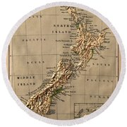 Map Of New Zealand 1880 Round Beach Towel
