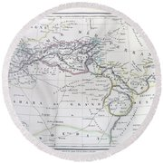 Map Of North Africa Or Barbary Round Beach Towel