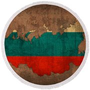 Map Of Russia With Flag Art On Distressed Worn Canvas Round Beach Towel
