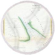Map Of Sabine Pass  Texas  Louisiana Round Beach Towel