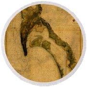 Map Of San Diego Bay California Circa 1857 On Worn Distressed Canvas Parchment Round Beach Towel