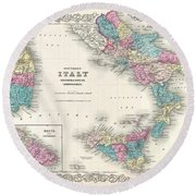 Map Of Southern Italy Sicily Sardinia And Malta Round Beach Towel