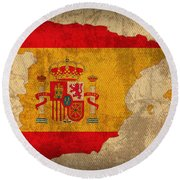 Map Of Spain With Flag Art On Distressed Worn Canvas Round Beach Towel