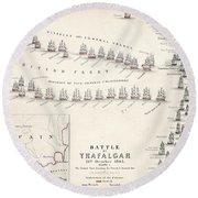 Map Of The Battle Of Trafalgar Round Beach Towel