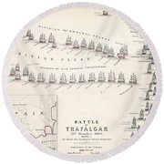 Map Of The Battle Of Trafalgar Round Beach Towel by Alexander Keith Johnson