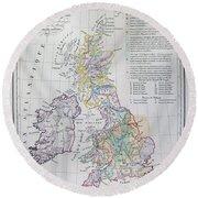 Map Of The British Isles  Round Beach Towel