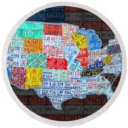 Map Of The United States In Vintage License Plates On American Flag Round Beach Towel by Design Turnpike