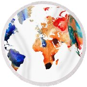 Map Of The World 8 -colorful Abstract Art Round Beach Towel