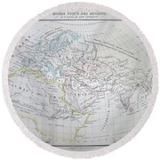 Map Of The World According To The Ancients Round Beach Towel