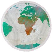 Map Of The World - Colors Of Earth And Water Round Beach Towel