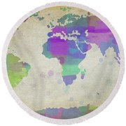Map Of The World - Plaid Watercolor Splatter Round Beach Towel