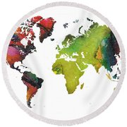 Map Of The World Red Green Round Beach Towel